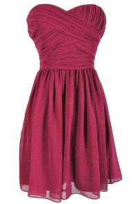 Sweetheart Pleated Strapless Designer Dress by Minuet in Berry  LilyBoutique.com