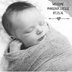 Oh hello Miss @margeauxlucille  Simply adorable newborn pic created with custom fonts and artwork from our 'Doodles' collection. Get the Little Nugget app to create yours  link in our profile. Tag #LittleNuggetCo and @LittleNuggetCo to be featured.