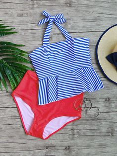 Blue Striped Ruffle Hem High Waist Tankini Set - S / Blue Tankini With Shorts, Black Tankini, Summer Bathing Suits, Bathing Suits One Piece, Cute Bathing Suits, Country Girls Outfits, Cute Swimsuits, Teen Swimsuits, Bathing Suits