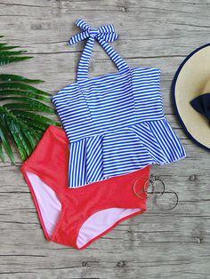 Blue Striped Ruffle Hem High Waist Tankini Set - S / Blue Tankini With Shorts, Black Tankini, Peplum Swimsuit, Summer Bathing Suits, Bathing Suits One Piece, Cute Bathing Suits, Cute Swimsuits, Women Swimsuits, Bathing Suits