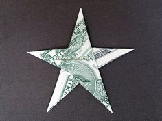 STAR Money Origami  Shape Dollar Bill Art  by VincentOrigamiArtist