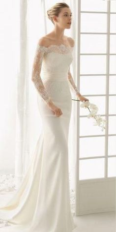 off the shoulder wedding dresses modern sheath lace sleeves bridal gown with tra. off the shoulder wedding dresses modern sheath lace sleeves bridal gown with train rosa clara Classic Wedding Dress, Wedding Dress Trends, New Wedding Dresses, Bridal Dresses, Gown Wedding, Wedding Lace, Modest Wedding, Event Dresses, Club Dresses