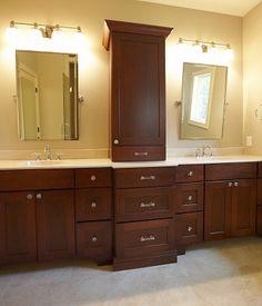 bathroom vanities with tower storage | double vanity with center