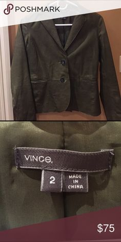 Vince leather blazer Great condition Vince army green leather blazer/jacket, size 2. Barely worn and a few slight scratches. Can be worn opened or closed and is a very soft, comfortable leather Vince Jackets & Coats Blazers