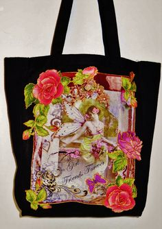 Designer Edition Black Canvas Tote Bag With Custom by paulagsell, $56.00  #Victorian Design!