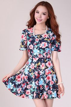 2013 Fashion Floral Short Sleeve Casual Dress