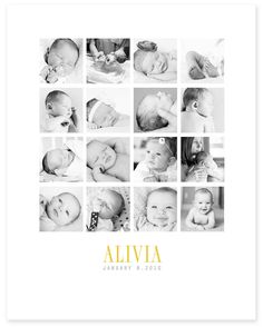 Love this way of displaying baby photos.  Frameables | Photo Collage Templates for Framing