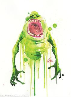Ghostbusters - Slimer by Lora Zombie - Anime Characters Epic fails and comic Marvel Univerce Characters image ideas tips Ghostbusters Theme, Ghost Busters, Goth Art, Movie Poster Art, Watercolor Paintings, Watercolor Ideas, Watercolors, Fantasy Art, Horror
