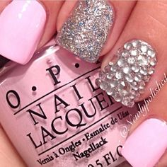 nail designs, glitter, pink, light pink, baby pink, glittery, opi, silver, glittery nails, pretty pink nails, rhinestone nails, pink nails, ...