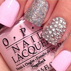 nail designs, glitter, pink, light pink, baby pink, glittery, opi, silver, glittery nails, pretty pink nails, rhinestone nails, pink nails, ...