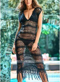 b2d1fce0b9cfd Chicloth Bikini Cover Up Dress Crochet Fringes Tassels Bathing Suit  Beachwear size Women Hollow