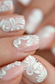 nail art dentelle mariage, matrimonio, bianco, 3D piatto con effetto zucchero, svarovski