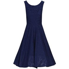 Jolie Moi Lace Bonded Pleated Waistband Dress (60 CAD) ❤ liked on Polyvore featuring dresses, navy, sale, floral skater skirt, blue fit and flare dress, blue skater skirt, blue dress and lace fit-and-flare dresses