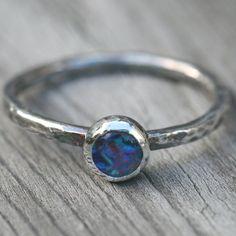 Australian Opal Ring Blue Fine Silver US SIze 6 Oxidzied Handmade by Maggie McMane Designs. $40.00, via Etsy.