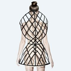 Fashion Architecture - 3D cage dress with structural grid design & bold symmetry; wearable sculpture // Chromat