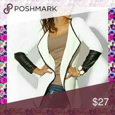 Reserved Gorgeous knitted blazer with faux leather lining and sleeves. This blazer is super cute with your favorite pair of jeans.  Materials include polyester,  acrylic and faux leather.  Bundles welcome great discounts  No rude comments or you will be blocked Reasonable offers only Retail Chic  Jackets & Coats Blazers