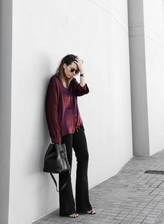 modern legacy, fashion blog, street style, flares, bucket bag, Proenza Schouler mules, burgundy shirt (1 of 1) | Flickr - Photo Sharing!