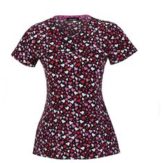 """""""Gimme a Kiss"""" in this cute top featuring little hearts! Find it at The Uniform Outlet!"""