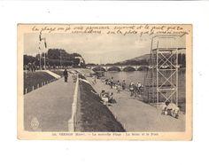 CPA TRES ANIMEE - VERNON (27) - LA NOUVELLE PLAGE, LA SEINE ET LE PONT - 1940