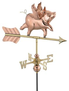 Copper When Pigs Fly Weather Vane