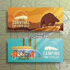 camping vector: Flat vector camping  banners on the subject of wilderness survival, camping, travel, etc.. Quality design illustrations, elements and concept. Flat design. Illustration