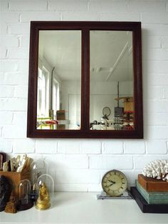 Vintage Extra Large Art Deco Wall Mirror with Bevelled Edge and Wooden Frame