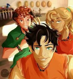 The original trio~Percy Jackson, Annabeth Chase, and Grover Underwood SELFIE! But no seriously, I'm reading the mark of Athena, and I miss Grover soooooooooooo much right now! Percy Jackson Fandom, Percy Jackson Film, Grover Percy Jackson, Clarisse Percy Jackson, Annabeth Chase, Percy And Annabeth, Frank Zhang, Jason Grace, Magnus Chase