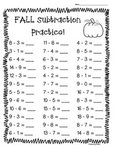 I made this pack of subtraction worksheets for students to practice their basic subtraction facts, as well as mental math. The first page is single digit, the second page is double minus… Math Practice Worksheets, Addition And Subtraction Worksheets, School Worksheets, Summer Worksheets, Math Sheets, Kindergarten Math Activities, Math Practices, Basic Math, Math Facts
