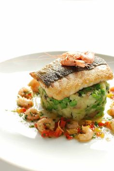 Recipe : Pan-fried Fillet of Welsh Seabass with Shrimp Butter and Crushed New Potatoes with Peas : Gwesty Cymru Fish Dishes, Seafood Dishes, Seafood Recipes, Wine Recipes, Cooking Recipes, Healthy Recipes, Sea Bass Fillet Recipes, Welsh Recipes, Butter Shrimp