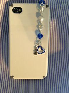 Cell phone Sapphire open heart charm, dust plug harm, phone charm, headphone jack charm, dust plug, iphone charm, ipad charm, ipod charm.