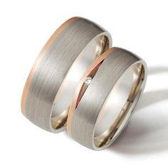Hermoso y elegante diseño de argollas en oro blanco y cintillo en platino y oro rojo, diseño por encargo.