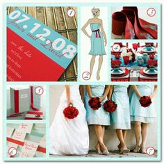 Pop of red with gold and light blue