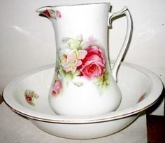 pitcher and basin set | Beautiful Pitcher and Bowl Set with Roses