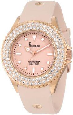 Freelook Women's HA9036RG-3 Beirge Band & Dial Rose Gold Case Swarovski Bezel Watch on shopstyle.com