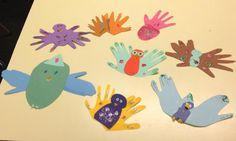 handprint birds Bird Art, Arts And Crafts, Creatures, Birds, Paper, Preschool, Classroom, Amp, Craft Ideas
