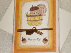 Fall Thanksgiving Card 3D Pop Up Acorn by LadyJPaperGarden on Etsy, $4.00 #pcfteam