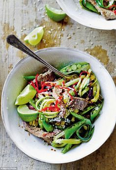 Beef stir-fry with courgette noodles | Daily Mail Online