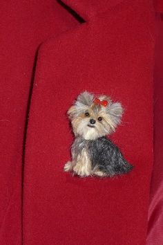Worlds Smartest Cutest Puppy Misa Minnie / Custom by GourmetFelted, $75.00 Needle Felted Animals, Felt Animals, Needle Felting, Yorkshire Terrier, Frozen Dog, Felt Dogs, Art Textile, Dog Pin, Felt Brooch