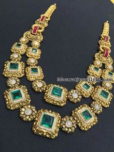 Emerald Two Rows Vintage Necklace - Jewellery Designs