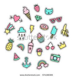 Set of cute pop stickers. Vector hand drawn objects