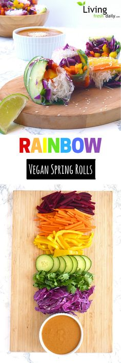 Rainbow Vegan Spring Rolls recipe with an addictive spicy peanut dipping sauce! Raw Food Recipes, Asian Recipes, Dinner Recipes, Cooking Recipes, Healthy Recipes, Tapas Recipes, Recipies, Vegan Appetizers, Recipes