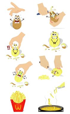 """This illustration is called """"Si Kentang"""" (The Potato). It basically illustrates the process of making french fries. This work is based on my imagination on how the potatoes would """"feel"""" of being cooked lol."""