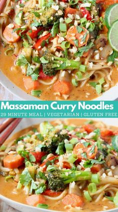 Massaman Curry is a delicious Thai curry sauce that pairs perfectly with rice noodles and vegetables for an easy gluten free and vegetarian recipe, made in just 29 minutes! Starting the sauce with a prepared curry paste makes the sauce so easy to make in just a few minutes! Toss in your favorite vegetables, or add chicken or shrimp. Serve it with rice noodles or over rice, both are totally tasty options!