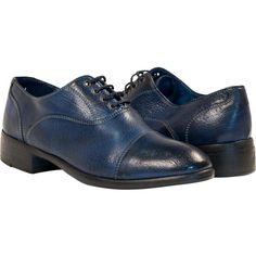 PAOLO IANTORNO Melissa Dip Dyed Indigo Blue Leather Oxford Lace Up... ($329) ❤ liked on Polyvore