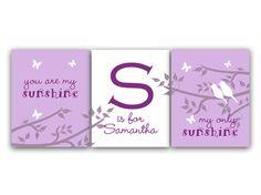 "Trio Set of Customized Nursery Wall Art ""You Are My Sunshine, My Only Sunshine"""