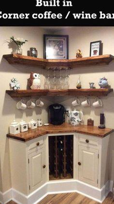 Smart DIY Coffee Bar Design Ideas for Kitchen - Page 6 of 37 Wine And Coffee Bar, Coffee Bars In Kitchen, Coffee Bar Home, Coffe Bar, Design Café, Home Design, Design Ideas, Interior Design, Corner Bar Cabinet