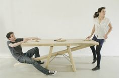"""See-Saw Table:: Marleen Jansen// Developed from Jansen's dissertation 'Being Forced Voluntarily' (Ongedwongen moeten), the table explores the unspoken rules of sharing a meal. """"It's a courtesy table,"""" Ms. Jansen said. """"I want to manipulate behavior, and it's rude to leave the table while eating."""""""
