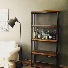 Industrial shelves - sturdy, functional and great looking too! #Industrial #shelves #living #room #kitchen #bar #study #bookshelf #dubaifurniture #interiordesign #metal #Dubai  #AUH #theatticdubai