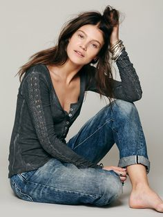 Free People Shell Stitch Lace Henley at Free People Clothing Boutique