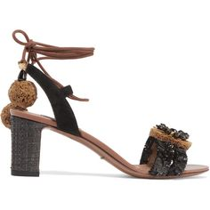 Dolce & Gabbana Suede and raffia-trimmed embellished leather sandals ($910) ❤ liked on Polyvore featuring shoes, sandals, black, ankle wrap sandals, woven sandals, leather ankle strap sandals, pom pom sandals and black shoes